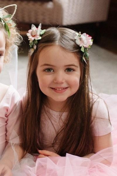bridesmaid pink daisy hair clips