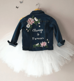 painted denim bridal jacket