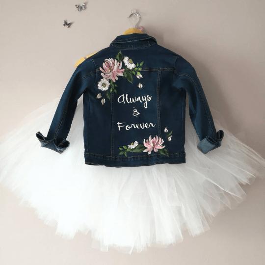 painted denim bridal jacket