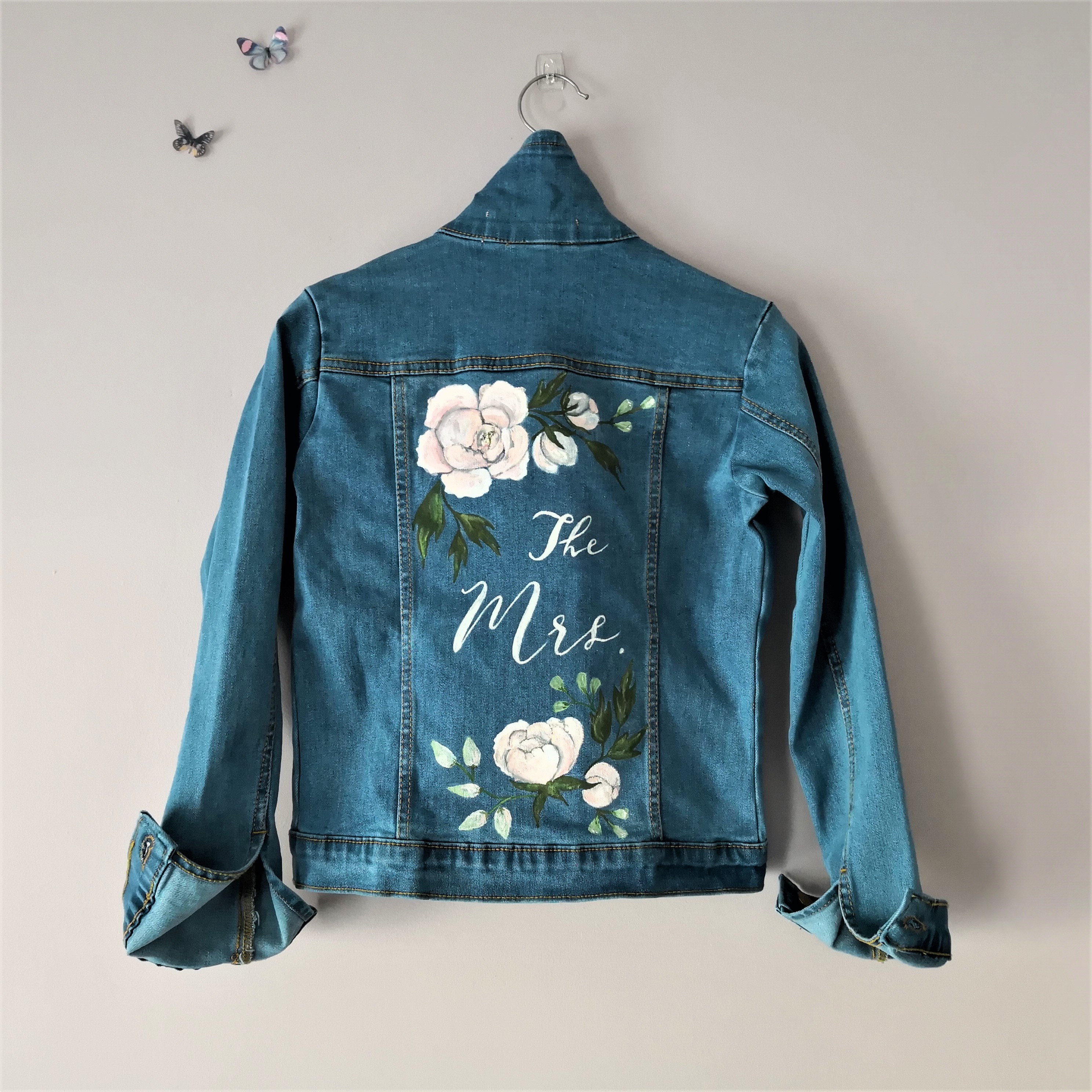 ccaf4e60a Hand Painted Custom Peony Design Wedding The Mrs. Jacket, Painted Denim  Bridal Jacket, Bridesmaid, Bespoke Denim or Leather Jacket Calligraphy, UK.