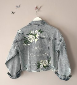 handpainted denim bridal jacket