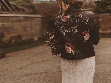 Mrs Smith Custom painted leather bridal jacket