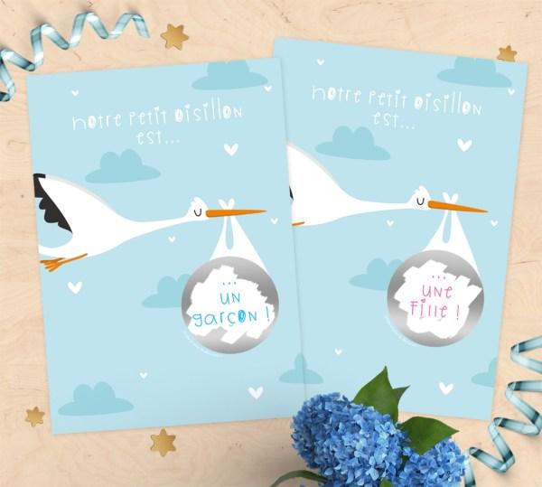 Carte à gratter annonce bébé fille ou garçon cigogne