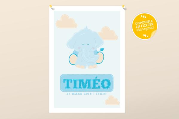 Affiche de naissance personnalisée pour chambre de bébé ou enfant - Cadeau de naissance, affiche doudou éléphant