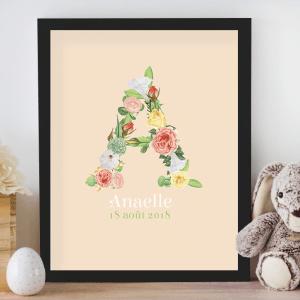 Affiche de naissance personnalisée pour chambre de bébé ou enfant - Cadeau de naissance, affiche initiale fleurie