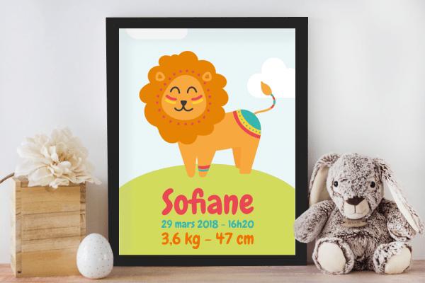 Affiche de naissance personnalisée pour chambre de bébé ou enfant - Cadeau de naissance, affiche lion style ethnique