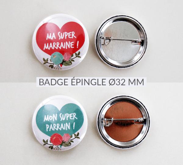 Carte badge cadeaux demande de parrain/marraine pour baptême - Collection vélo fleuri