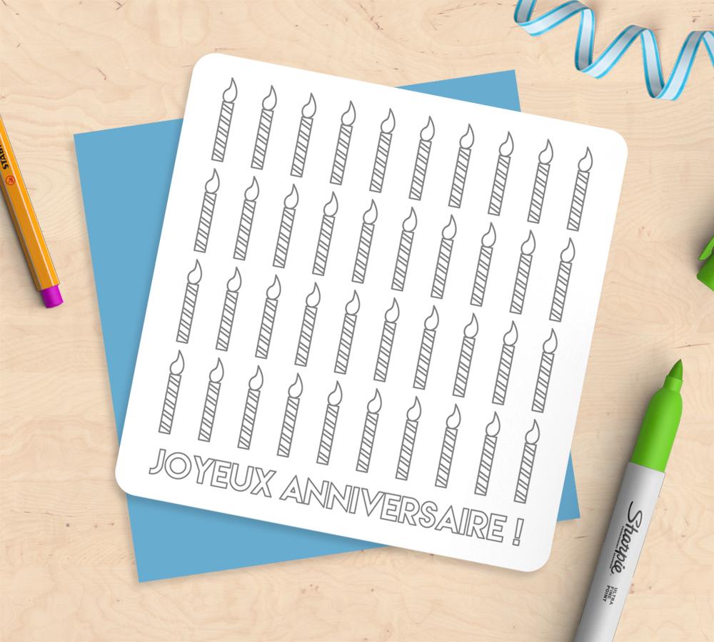 Carte anniversaire diy carte colorier mimosa chroma - Joyeux anniversaire a colorier ...