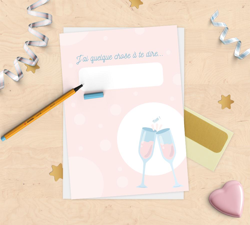 Annonce Témoin Mariage destiné carte annonce à gratter à personnaliser – champagne – mimosa chroma