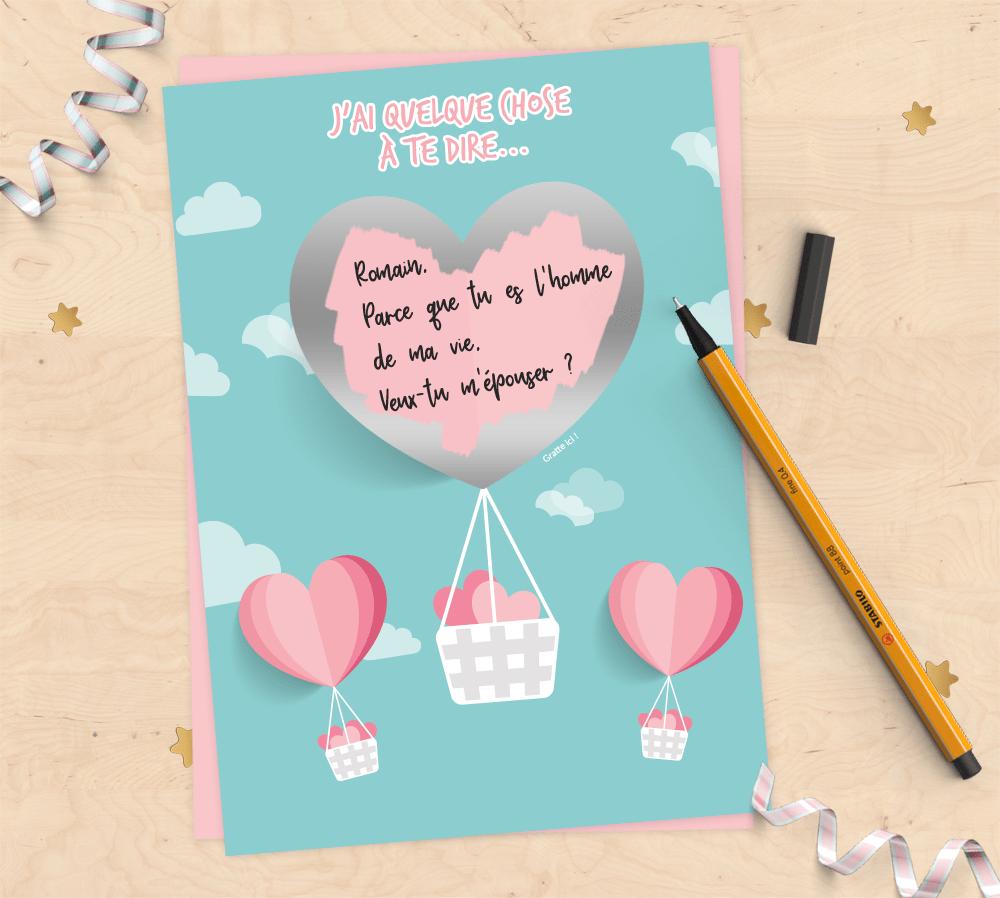 Annonce Témoin Mariage dedans carte annonce à gratter à personnaliser – saint valentin – mimosa chroma