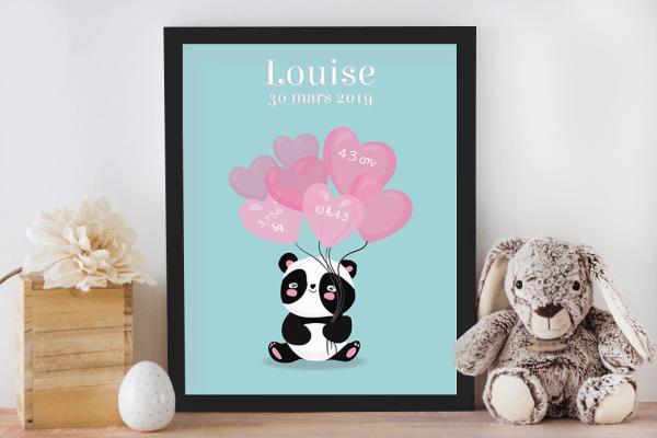 Affiche de naissance personnalisée pour chambre de bébé ou enfant - Cadeau de naissance, affiche panda et ballons coeurs