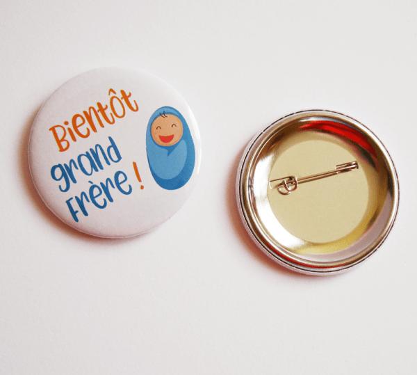 """Badge annonce grossesse """"Bientôt grande soeur"""" ou """"Bientôt grand frère"""""""