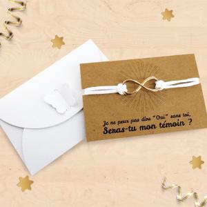 Carte demande de témoin de mariage avec bracelet infini doré