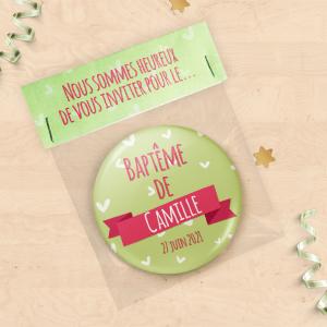Faire-part de baptême avec magnet personnalisé - Collection cœurs vert et rose