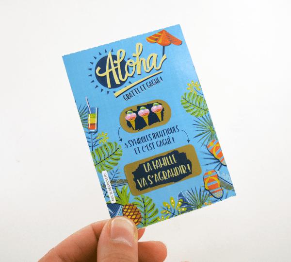 Carte à gratter annonce grossesse - Style ticket de jeu à gratter spécial été !