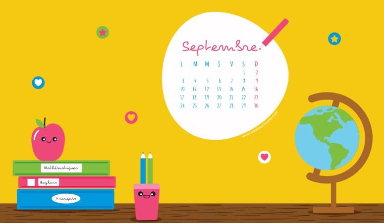 Calendrier de septembre 2018 à télécharger