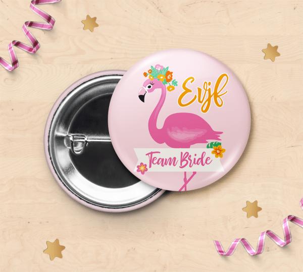 Badge pour EVJF - Equipe de la mariée, badge mariage, enterrement de vie de jeune fille - flamant rose