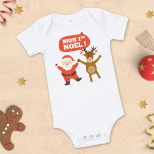 "Body bébé Noël ""Mon 1er Noël"", père noël et renne"