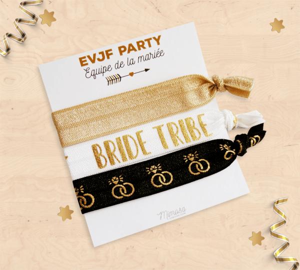 Élastiques à cheveux, bracelet élastique pour EVJF - Equipe de la mariée / Bride tribe, cadeau témoin mariage