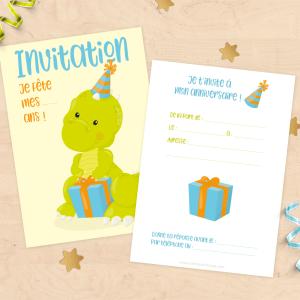 Cartons d'invitation anniversaire enfant - Thème dinosaure avec son cadeau