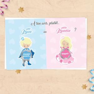 Mini carte à gratter annonce grossesse, sexe du bébé, fille ou garçon - Prince ou Princesse
