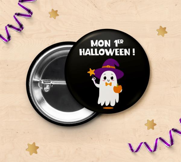 """Badge """"Mon 1er Halloween"""" pour photo souvenir de bébé"""
