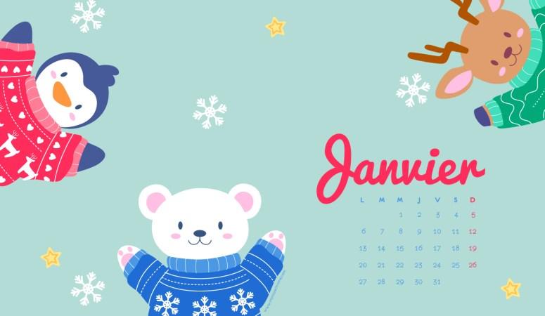 Calendrier Janvier 2020 à télécharger