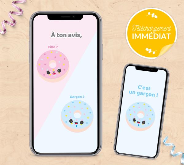 Carte annonce de grossesse sexe de bébé - Donuts - Fichiers à télécharger