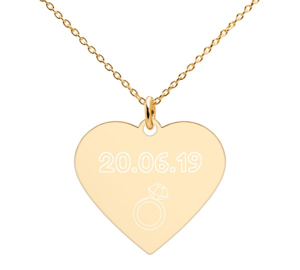 Collier coeur personnalisable - Bijou gravé cadeau de mariage