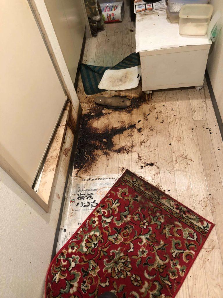 トイレのドア下から汚物が出てる