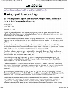 Los Angeles Times 2004_ Blazing a Path to very old age_Page_1