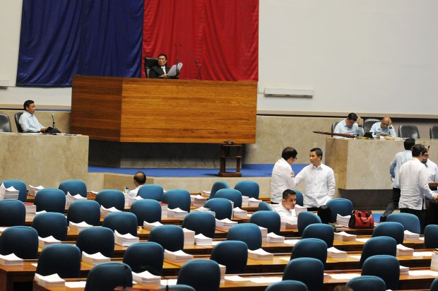 EMPTY HOUSE. Empty seats  occupied by congressmen at the House of Representatives when it opened the plenary for the revised version of the proposed Bangsamoro Basic Law Monday afternoon on June 1, 2015. An hour past 4pm; a total of 193 congressmen answered the roll call paving the way for the proposed Bangsamoro Basic Law to be introduced in the house. MindaNews photo by Froilan Gallardo