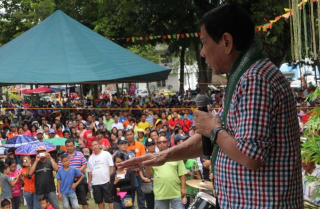 Davao City Mayor Rodrigo Duterte speaks at the 64th founding anniversary of M'lang in North Cotabato on August 3, 2015. MindaNews photo by TOTO LOZANO