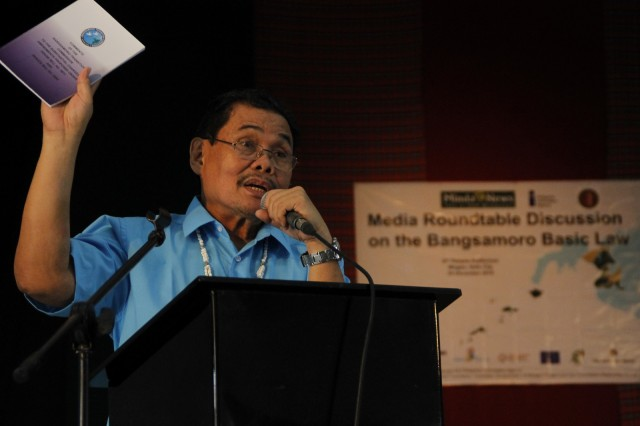 MILF chief peace negotiator Mohagher Iqbal airs his dissatisfaction over the delay in the passage of the Bangsamoro Basic Law during the media roundtable discussion on Friday (Dec. 4, 2015) at the University of the Visayas in Iloilo City. MindaNews photo by H. Marcos C. Mordeno