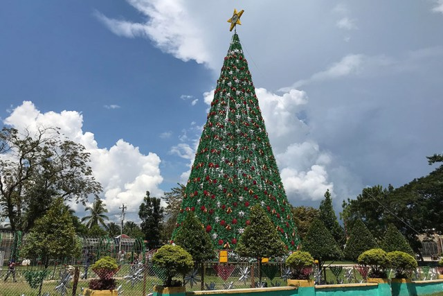 Christmas Tree Not Taking Water.Tampakan S 100ft Christmas Tree Made Of Waste Materials