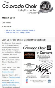 Colorado Choir Newsletter