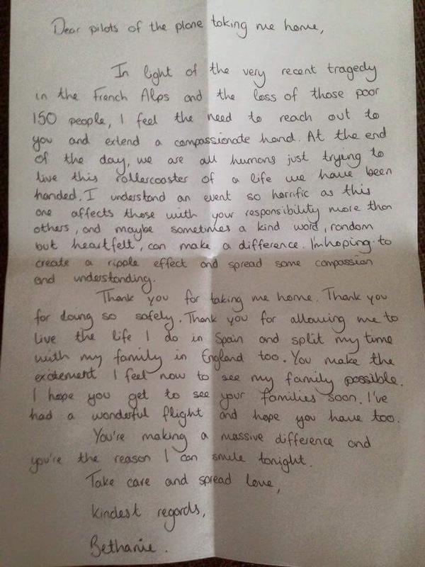 Passenger's Letter Of Thanks To Pilot MiNDFOOD