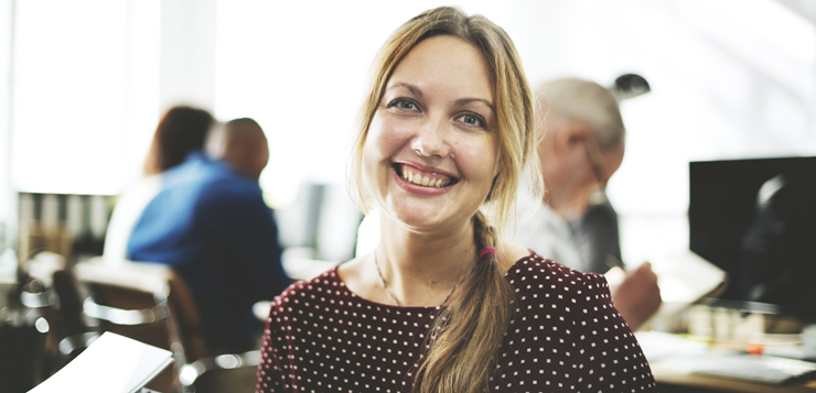 businesswoman smiling cheerfully