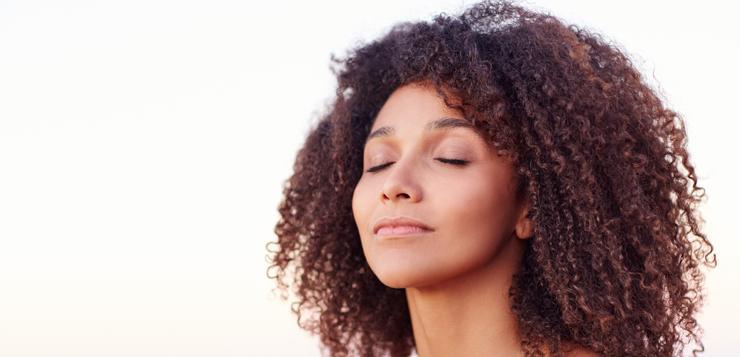 woman focusing on breathing