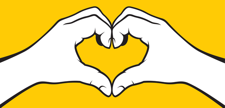 illustration of hands in heart shape