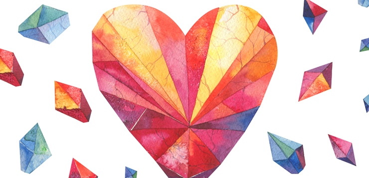 polygonal watercolor heart with diamonds in background