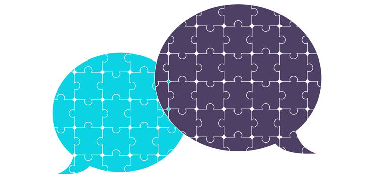 illustration two conversation bubbles overlapping, each consists of puzzle pieces