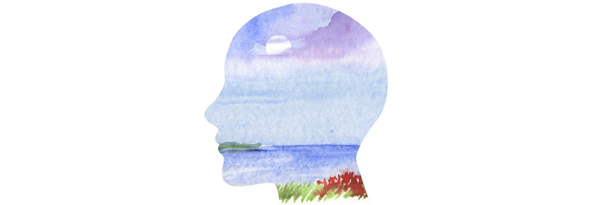 illustration human profile with sea landscape