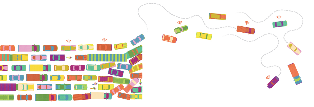 cars honking on a busy road, illustration