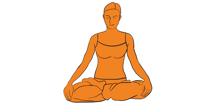 illustration woman meditating in seated position