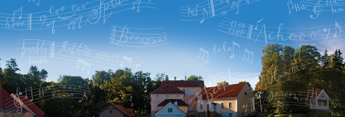 Suburbs with musical notes illustrated overtop