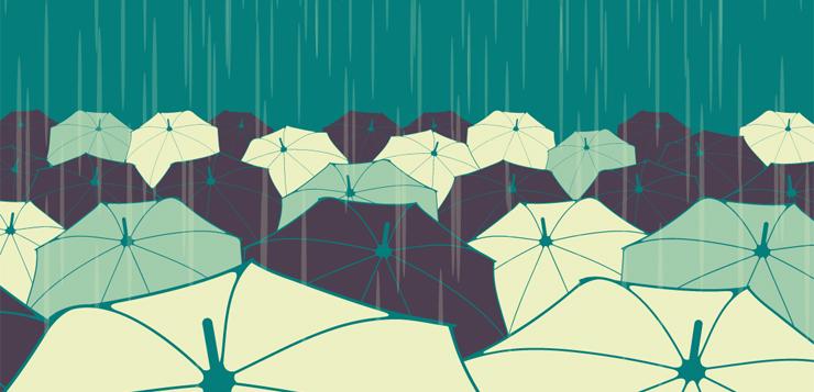 illustration umbrellas under the rain