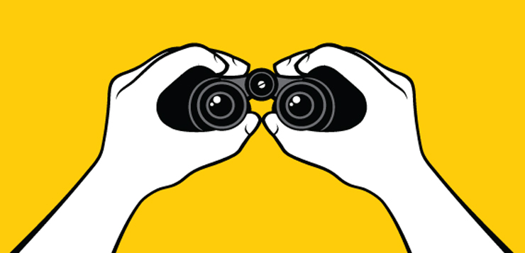 illustration person holding binoculars