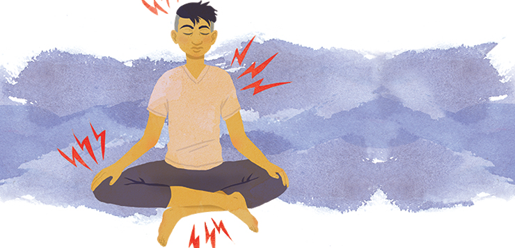 man sitting in meditation, pain radiating off various parts of his body