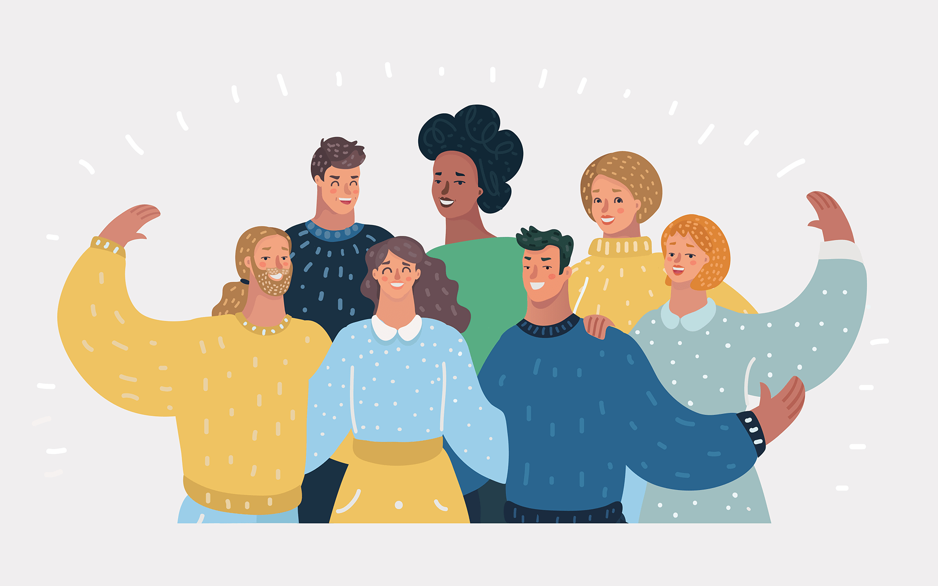3 Ways to Bring Vitality and Purpose to Your Life—Illustration of seven people in a group with their arms wrapped around one another. The background is light grey and there are small white lines surrounding them.